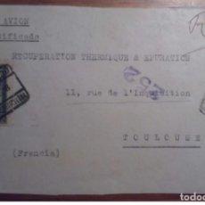 Sellos: ESPAÑA REPÚBLICA BARCELONA 1938 CERTIFICADO CORREO AÉREO CASTELAR CUENCA CENSURA. Lote 199655622