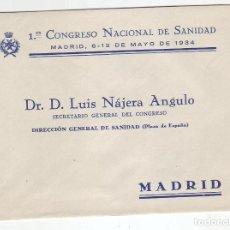 Sellos: 1934 - SOBRE PRIMER CONGRESO NACIONAL DE SANIDAD , SECRETARIO GENERAL DEL CONGRESO. Lote 199728138