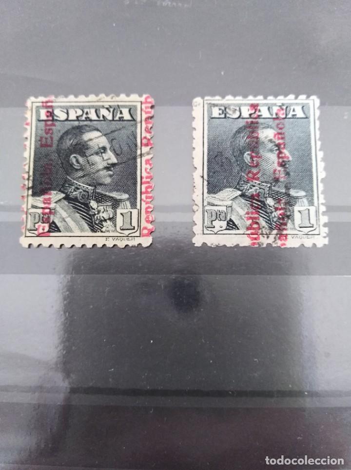 SELLO ALFONSO XIII CON SOBRECARGA DE LA REPÚBLICA TOTALMENTE DESPLAZADA MUY RARO ESPAÑA (Sellos - España - II República de 1.931 a 1.939 - Usados)