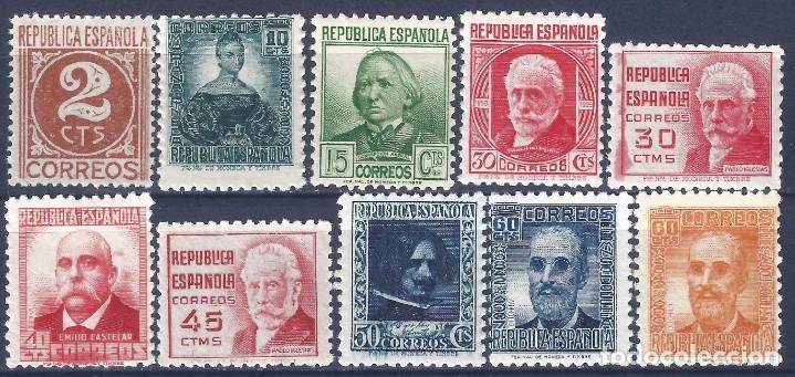 EDIFIL 731-740 CIFRA Y PERSONAJES 1936-1938 (SERIE COMPLETA). VALOR CATÁLOGO: 42 €. MNH ** (Sellos - España - II República de 1.931 a 1.939 - Nuevos)