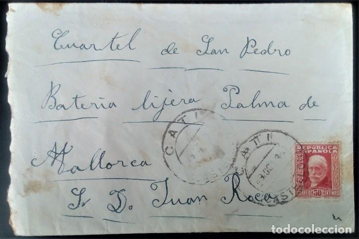 CATI CASTELLÓN DIRIGIDA A MILITAR CUARTEL BATERÍA LIGERA PALMA DE MALLORCA EDIFIL 669 PABLO IGLESIAS (Sellos - España - II República de 1.931 a 1.939 - Cartas)