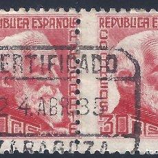 Sellos: EDIFIL 686 PERSONAJES. AZCÁRATE. 1933-1935 (PAREJA) (VARIEDAD 686T...SIN PIE DE IMPRENTA). LUJO.. Lote 202284758