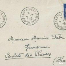 Sellos: EXILIADOS REPUBLICANOS. SOBRE DEL CAMPO DE REFUGIADOS DE GURS CIRCULADO A CASTETS DE LANDES EN 1939. Lote 202359106