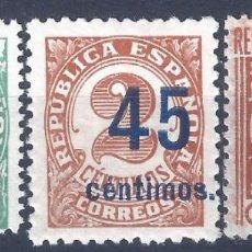 Sellos: EDIFIL 742-744 CIFRAS 1938. HABILITADOS CON NUEVO VALOR (SERIE COMPLETA).VALOR CATÁLOGO: 40 €. MNH**. Lote 202872991