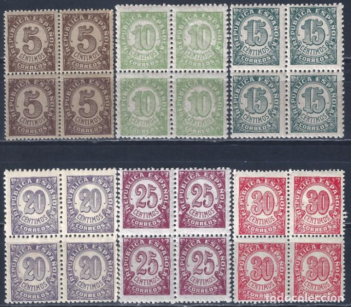 EDIFIL 745-750 CIFRAS. 1938 (SERIE COMPLETA EN BLOQUES DE 4) (VARIEDAD...TAMAÑO 20 Y 30 CTS). MNH ** (Sellos - España - II República de 1.931 a 1.939 - Nuevos)