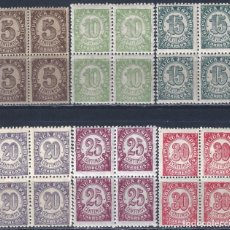 Sellos: EDIFIL 745-750 CIFRAS. 1938 (SERIE COMPLETA EN BLOQUES DE 4) (VARIEDAD...TAMAÑO 20 Y 30 CTS). MNH **. Lote 203143303