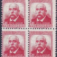 Sellos: EDIFIL 735 EMILIO CASTELAR 1937 (BLOQUE DE 4). VALOR CATÁLOGO: 21 €. MNH **. Lote 203377071