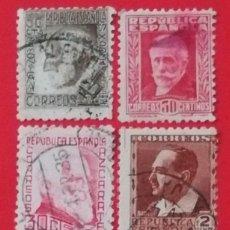 Sellos: SELLOS REPUBLICA ESPAÑOLA 15 CTS, RAMON Y CAJAL, PABLO IGLESIAS, AZCARATE 30CTS Y BLASCO IBAÑEZ 2CT. Lote 203550610