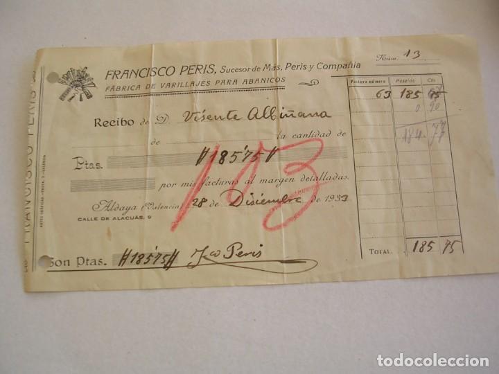 Sellos: VIÑETA EPOCA REPUBLICA, ABANICO VALENCIANO, GRAN MODA, FABRICA EN ALBORAYA, 1933 - Foto 2 - 204318591