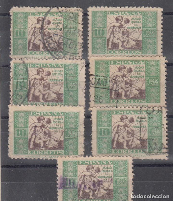 BENEFICENCIA, . EDIFIL 2. CONJUNTO DE 7 SELLOS CON MATASELLOS DIVERSOS. (Sellos - España - II República de 1.931 a 1.939 - Usados)