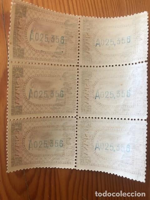 Sellos: Bloque de 6 sellos Montserrat, habilitado con 2,50 pesetas, año 1938 - Foto 2 - 205793953
