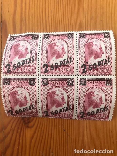 BLOQUE DE 6 SELLOS MONTSERRAT, HABILITADO CON 2,50 PESETAS, AÑO 1938 (Sellos - España - II República de 1.931 a 1.939 - Nuevos)