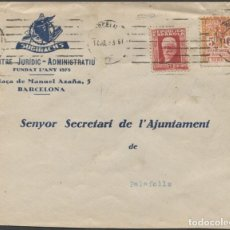 Sellos: 1933 SOBRE PUBLICITARIO BARCELONA A PALAFOLL CON VIÑETA BARCELONA. Lote 205843865