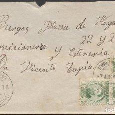 Sellos: 1936 TÓRTOLA ( GUADALAJARA ) A BURGOS. Lote 205846212
