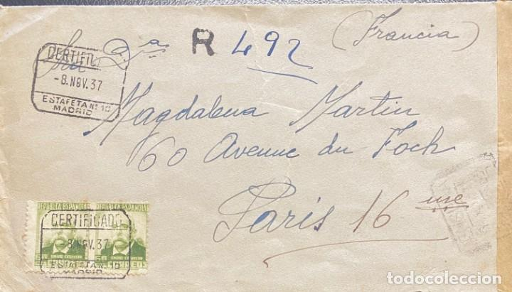 SEGUNDA REPÚBLICA ESPAÑOLA CARTA CIRCULADA AÑO 1937 (Sellos - España - II República de 1.931 a 1.939 - Cartas)