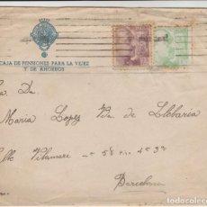 Sellos: LOTE A- SOBRE Y CARTA CAJA DE PENSIONES PALMA DE MALLORCA SELLOS 1940. Lote 206303255