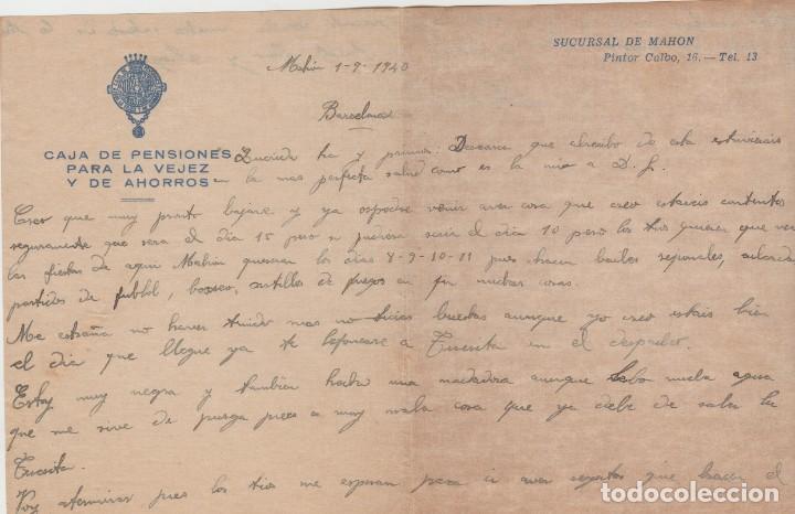 LOTE A- CARTAS CAJA DE PENSIONES PALMA DE MALLORCA Y MAHON 1940 (Sellos - España - II República de 1.931 a 1.939 - Cartas)