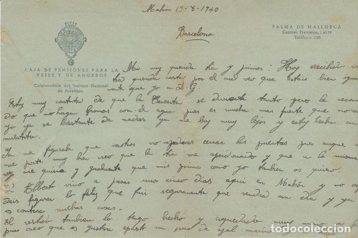 Sellos: LOTE A- CARTAS CAJA DE PENSIONES PALMA DE MALLORCA Y MAHON 1940 - Foto 2 - 206303332