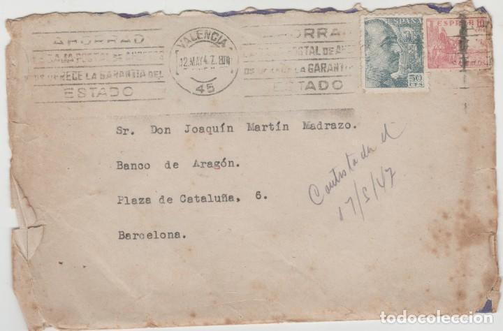 LOTE A- SOBRE SELLOS VALENCIA RODILLO 1947 (Sellos - España - II República de 1.931 a 1.939 - Cartas)