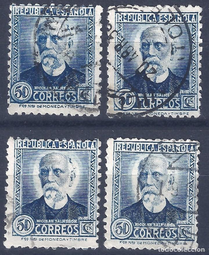 EDIFIL 688 NICOLÁS SALMERÓN 1933-1935. LOTE DE 4 SELLOS (VARIEDAD 688IP...AUREOLA). (Sellos - España - II República de 1.931 a 1.939 - Usados)