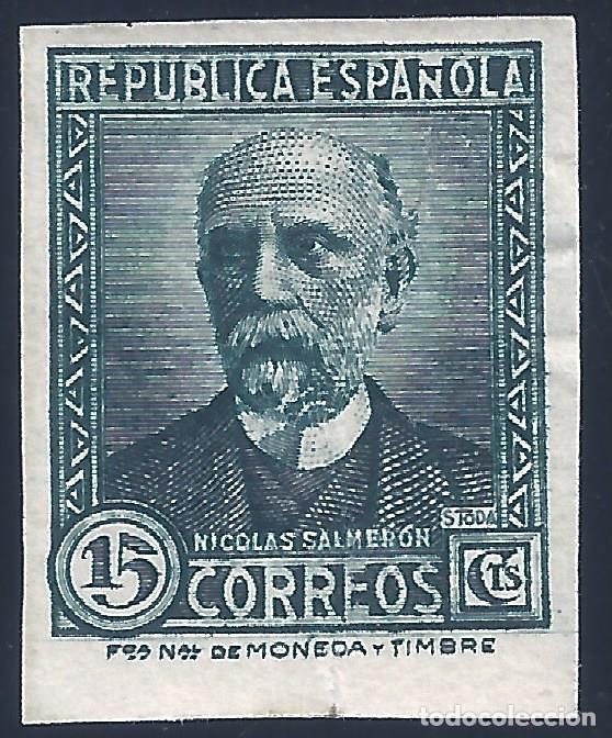 EDIFIL 688 NICOLÁS SALMERÓN 1933-1935. SIN DENTAR. MUY ESCASO ASÍ. VALOR CATÁLOGO: 400 €. LUJO. MH * (Sellos - España - II República de 1.931 a 1.939 - Nuevos)