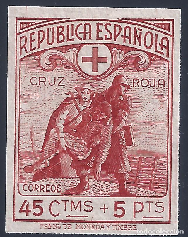 EDIFIL 767S CRUZ ROJA ESPAÑOLA 1938 (VARIEDAD...SIN DENTAR) VALOR CATALOGO: 235 €. LUJO. MNH ** (Sellos - España - II República de 1.931 a 1.939 - Nuevos)