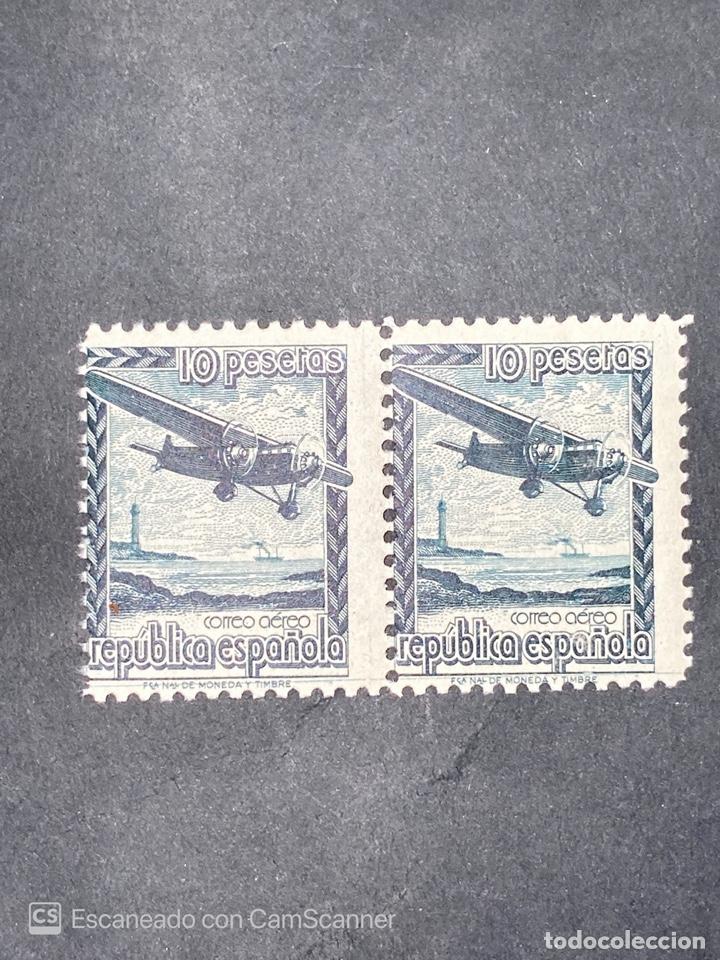 PAREJA DE SELLOS. REPUBLICA ESPAÑOLA. EDIFIL NE 38. AVION EN VUELO. CORREO AEREO. NUEVO (Sellos - España - II República de 1.931 a 1.939 - Nuevos)