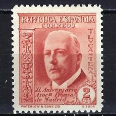 Sellos: 1936 ESPAÑA EDIFIL 696 ASOCIACIÓN DE LA PRENSA MH* NUEVO CON FIJASELLOS. Lote 206807823