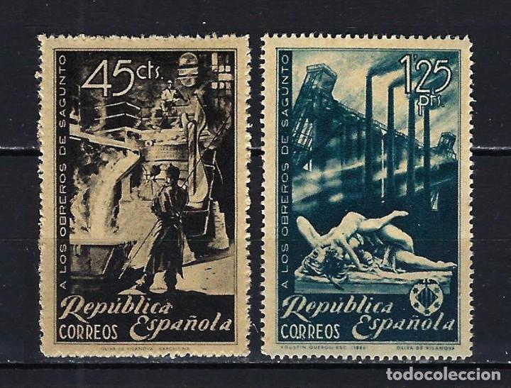 1938 ESPAÑA EDIFIL 773/774 HOMENAJE OBREROS DE SAGUNTO MH* NUEVOS CON FIJASELLOS (Sellos - España - II República de 1.931 a 1.939 - Nuevos)