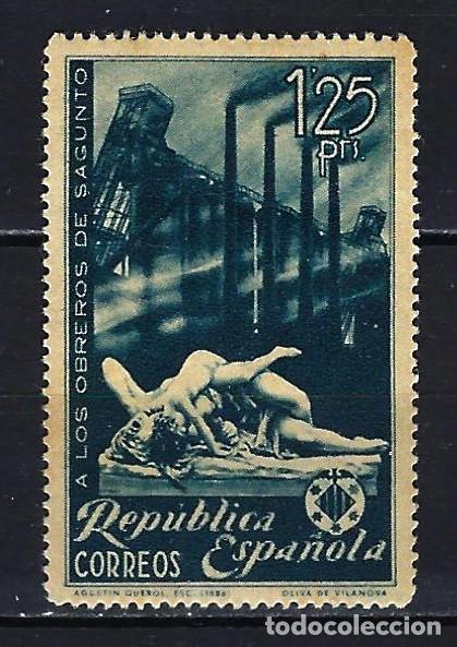 1938 ESPAÑA EDIFIL 774 HOMENAJE OBREROS DE SAGUNTO MLH* NUEVO LIGERA SEÑAL DE FIJASELLOS (Sellos - España - II República de 1.931 a 1.939 - Nuevos)