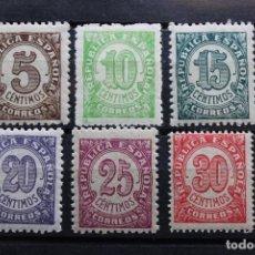 Sellos: SERIE 6 SELLOS NUEVOS CIFRAS REPÚBLICA ESPAÑOLA 1938. Lote 206891966