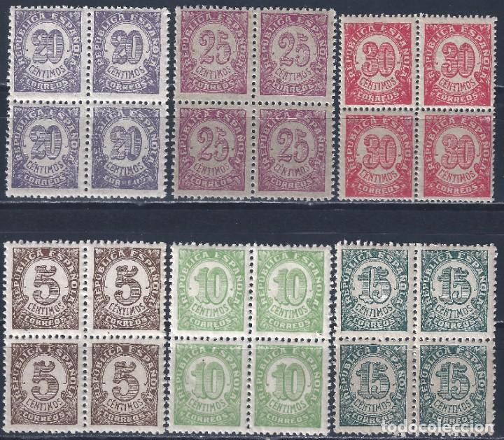 EDIFIL 745-750 CIFRAS. 1938 (SERIE COMPLETA EN BLOQUES DE 4). EXCELENTE CENTRADO. MNH ** (Sellos - España - II República de 1.931 a 1.939 - Nuevos)