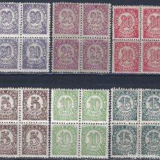 Sellos: EDIFIL 745-750 CIFRAS. 1938 (SERIE COMPLETA EN BLOQUES DE 4). EXCELENTE CENTRADO. MNH **. Lote 206893351