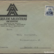Timbres: 1937 SOBRE PUBLICITARIO MADRID LEIPZIG. FERIA DE MUESTRAS. Lote 207182007