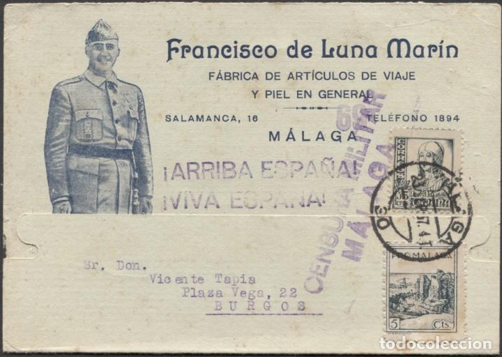 1937 TARJETA PUBLICITARIA Y PATRIÓTICA MÁLAGA BURGOS. VIÑETA BENÉFICA (Sellos - España - II República de 1.931 a 1.939 - Cartas)