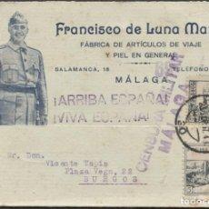 Timbres: 1937 TARJETA PUBLICITARIA Y PATRIÓTICA MÁLAGA BURGOS. VIÑETA BENÉFICA. Lote 207182585