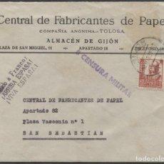 Sellos: 1938 SOBRE PUBLICITARIO GIJÓN SAN SEBASTIÁN. CENSURA MILITAR. Lote 207183690