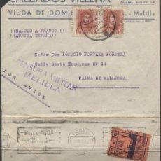 Sellos: 1938 FRONTAL CORREO AÉREO MELILLA PALMA DE MALLORCA. PUBLICIDAD ZAPATOS. CENSURA Y VIÑETA BENÉFICA. Lote 207184387