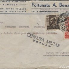Sellos: 1938 SOBRE PUBLICIDAD ZAPATOS MELILLA PALMA DE MALLORCA. CENSURA TETUÁN. Lote 207184640