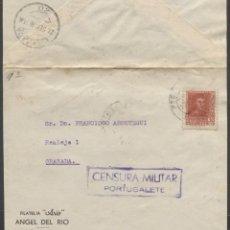 Sellos: 1938 FRONTAL ERANDIO GRANADA. PUBLICIDAD FILATELIA. CENSURA PORTUGALETE. Lote 207185001