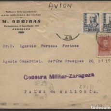 Sellos: 1938 SOBRE PUBLICITARIO ZARAGOZA PALMA DE MALLORCA. CENSURA. Lote 207185417