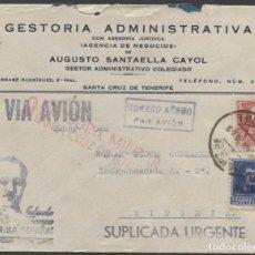 Sellos: 1938 SOBRE PUBLICITARIO Y PATRIÓTICO CORREO AÉREO TENERIFE VITORIA. CENSURA Y VIÑETA BENÉFICA. Lote 207186120