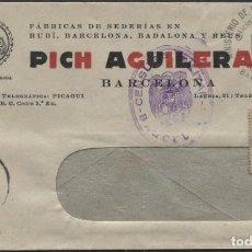 Sellos: 1939 SOBRE PUBLICITARIO BARCELONA. VIÑETA AUXILIO SOCIAL Y DE BARCELONA. CENSURA. Lote 207186443