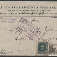 Sellos: 1939 SOBRE PUBLICITARIO LANGREO BILBAO. CENSURA Y MARCA PATRIÓTICA. Lote 207187740
