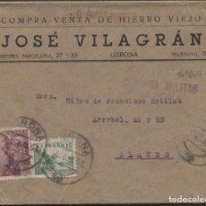 """Sellos: 1939 SOBRE PUBLICITARIO """"HIERRO VIEJO"""" GERONA BLANES. LLEGADA. Lote 207188128"""