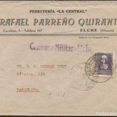Sellos: 1939 SOBRE PUBLICITARIO ELCHE BARCELONA. CENSURA ELCHE. Lote 207188208