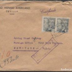 Sellos: 1941 SOBRE BHA CERTIFICADO AÉREO SEVILLA NUEVA YORK . LLEGADA. Lote 207188862