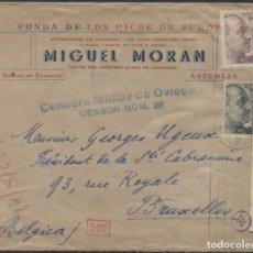 Sellos: 1941 SOBRE PUBLICITARIO ARENAS DE CABRALES BRUSELAS. CENSURAS OVIEDO. (VER REVERSO). Lote 207189031