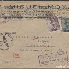 Sellos: 1942 SOBRE PUBLICITARIO ZARAGOZA HAMBURGO. CENSURAS ZARAGOZA Y ALEMANAS. Lote 207189402