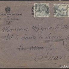 Sellos: 1942 SOBRE PUBLICITARIO AYUNTAMIENTO POZO RUBIO A FRANCIA. CENSURA MADRID Y LLEGADA. Lote 207190043
